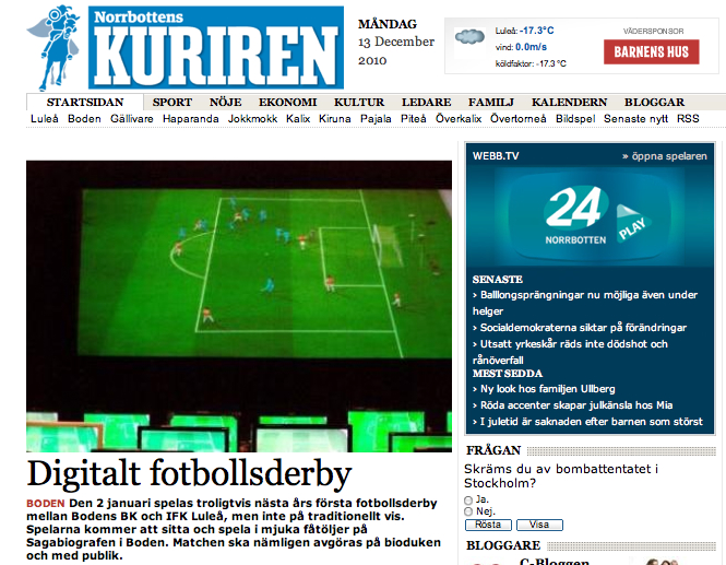 Artikel i kuriren big screen championship for Artikel boden